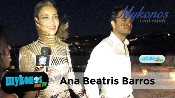 η υπερλαμπρη εμφανιση της  Μπεατρις και το ευχαριστουμε του Καριμ στη καμερα του Mykonos Live Tv